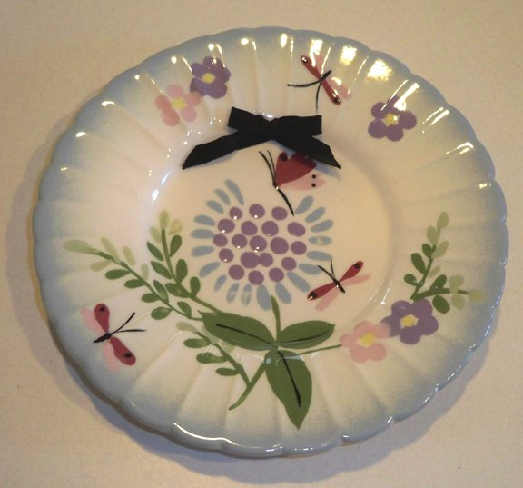 Vintage Cleminson's Hand-painted Wall Plate Floral & Butterflies