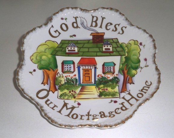 """Vintage Lefton Hand-Painted Wall Plate """"God Bless Our Mortgaged Home"""" MIJ"""