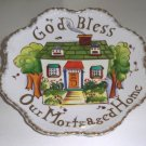 "Vintage Lefton Hand-Painted Wall Plate ""God Bless Our Mortgaged Home"" MIJ"