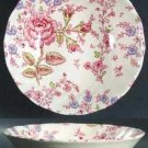 Vintage Johnson Brothers Rose Chintz Pink Cereal Bowl & Square Salad Plate