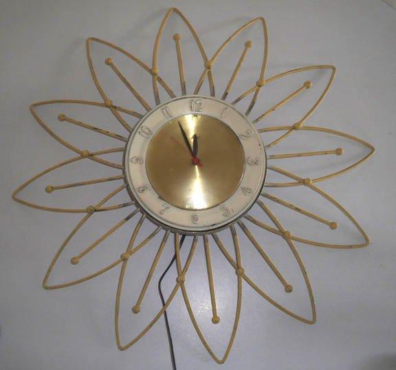 Vintage Retro LUX Flower Burst Atomic Daisy Electric Wall Clock