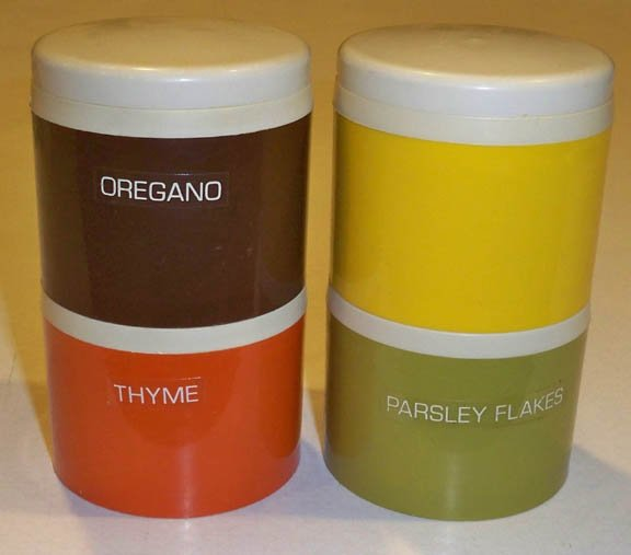 Vintage Tupperware Orange Green Yellow & Brown Stackable Spice Shakers #1308-23 - Set of 4
