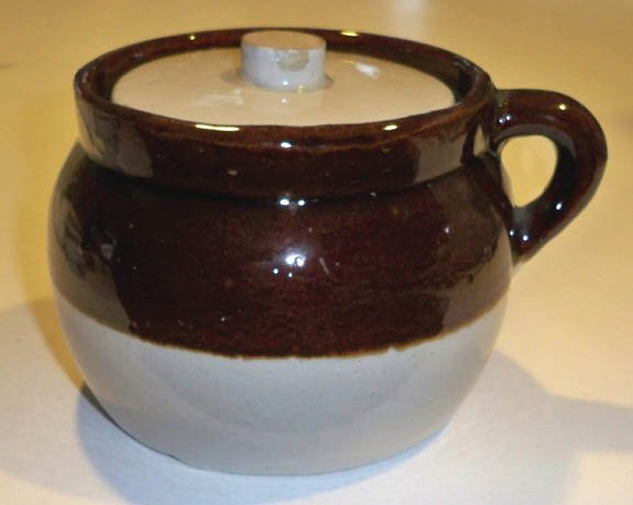 Vintage One Handled Bean Crock Pot With Lid