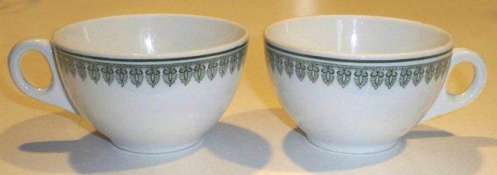 Vintage Buffalo China 1916 Coffee Cup Green Design (no saucer - Set of 2