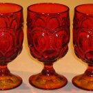 Vintage Smith Glass Amberina Moon & Stars Water Goblet / Glass - Set of 3