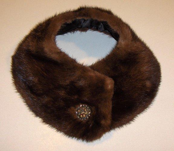Vintage Mink Collar with Rhinestone Button