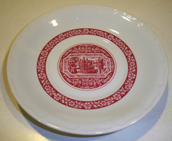 Red Village Scene Porcelain Saucer (no cup) by Rastal Hohr Grenzhausen Set of 2