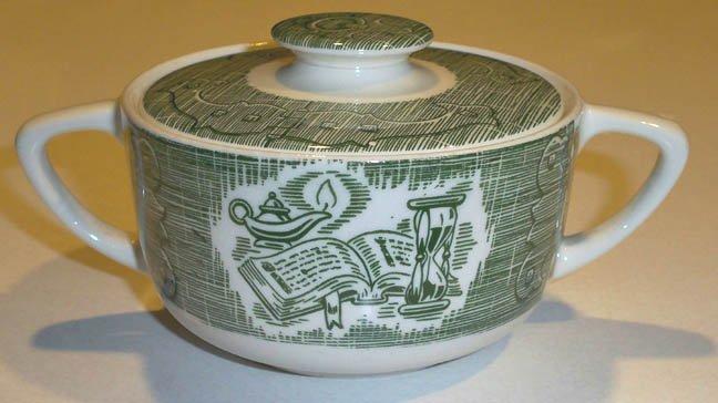 Royal USA Green Old Curiosity Sugar Bowl w/ Lid - Hinges