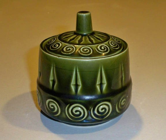 Vintage Retro Royal Sealy Japan Green Embossed Scrolls Sugar Bowl w/ Lid