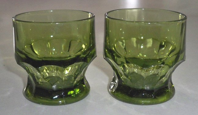 Vintage Anchor Hocking Green Georgian 5 oz. Flat Tumbler - Set of 5