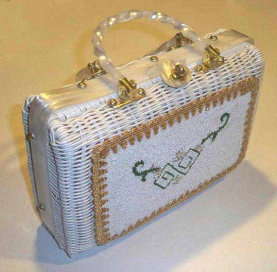 Vintage White Wicker Beaded Handbag Purse - Hong Kong