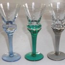 Colored Crystal Cordial Glass - Ribbed Stem Set of 5