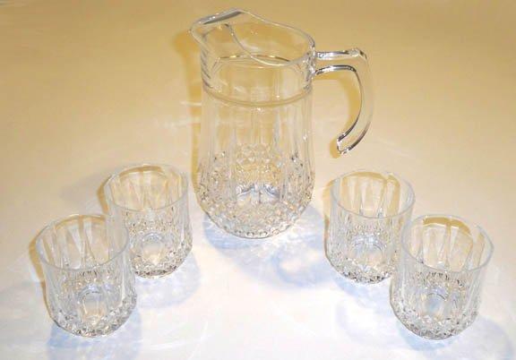 Vintage Cris d'arques Clear Longchamp 48 oz. Pitcher Server & 4 Double Old Fashioned Tumbler Glasses