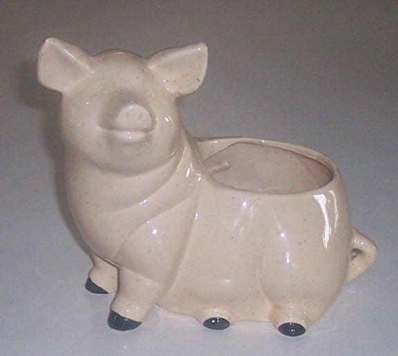 Vintage Speckled Ceramic Pig Planter - Sitting