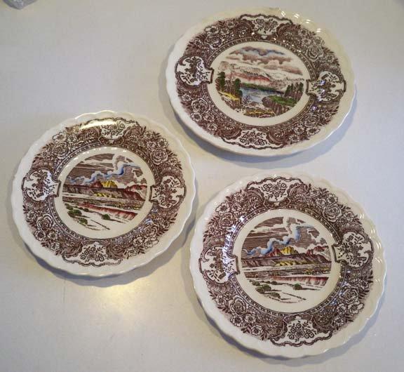 Vintage Vernon Kilns Vernon's 1860 Salad Plate & 2 Bread Plates