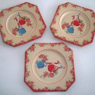Vintage Roses & Vase Paper Party Plate circa 1940s Set of 3