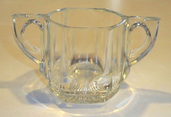 Vintage Indiana Glass #165 Flat Panel Open Sugar Bowl