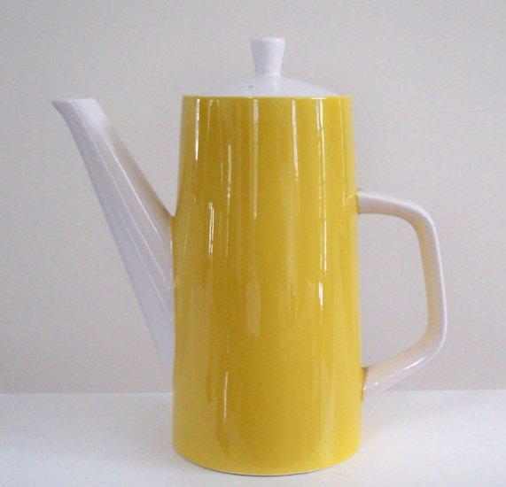 Vintage Mikasa Cera-stone Yellow 3997 Coffee Pot Server w/ Lid