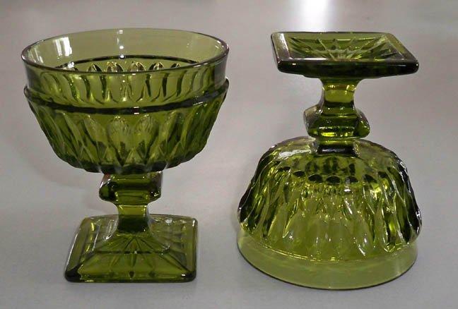Vintage Indiana Glass Mt. Vernon Dark Green Tall Sherbet Dessert Stemware - Set of 4
