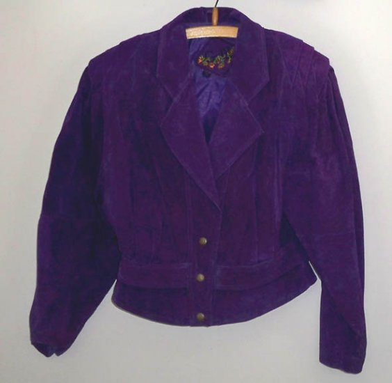 Vintage Global Identity G-III Leather - Womens Royal Purple Suede Jacket Size M