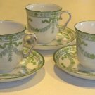 Antique Bishop and Stonier Green Floral Garland Demitasse Cup & Saucer - Set of 3