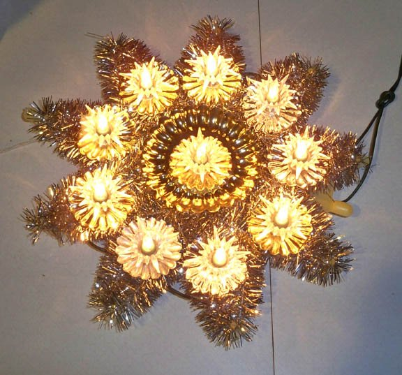 Vintage 11 Light Foil Tinsel Christmas Tree Topper - Made in Taiwan circa 60s MIB