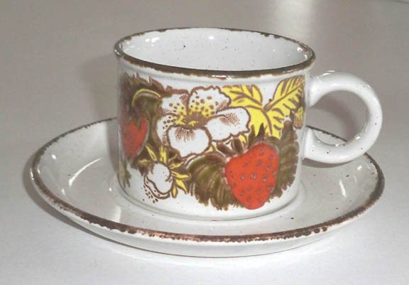 Vintage Midwinter Stonehenge Strawberry Cup and Saucer Set of 2