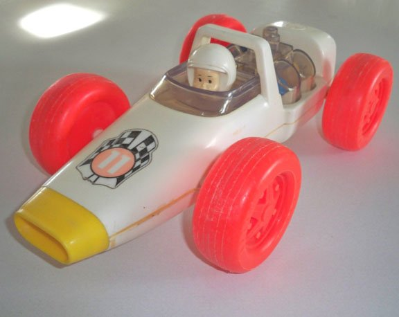 Vintage 1970s Kusan Race Car #11 Pull Toy