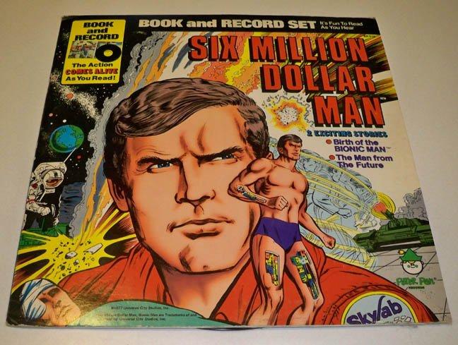 Vintage 1977 Peter Pan Records Six Million Dollar Man Book & Record Bionic Man 1977