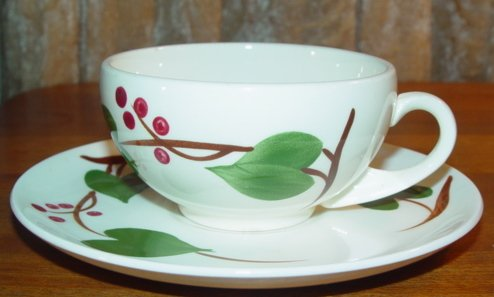 Vintage Blue Ridge Handpainted Stanhome Ivy Cup & Saucer Set of 2
