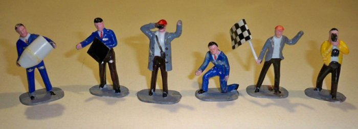 Vintage Lucky Products Plastic Racing Team Pit Crew Set of 6 Hong Kong