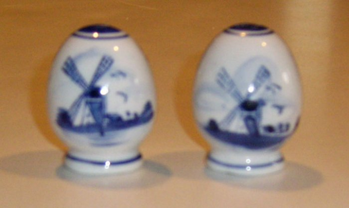 Hand painted Delft Blue Windmill Floral Salt & Pepper Shaker Set
