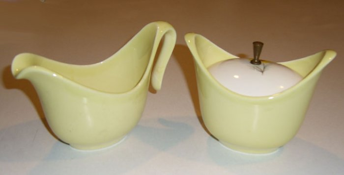 Vintage Taylor, Smith & Taylor Golden Button Yellow Flower Creamer & Sugar Bowl with Lid