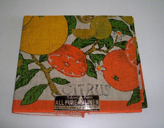 Vintage Belcrest Prints Linen Citrus Fruit Tea Towel NWT