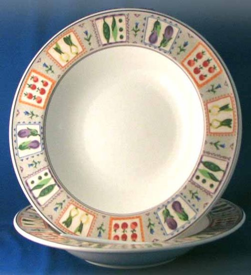Vintage Mikasa COUNTRY GALLERY Large Rimmed Soup Bowl - Set of 4