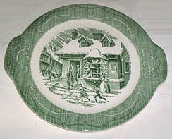 Royal USA Old Curiosity Shop Tab Handled Cake Plate