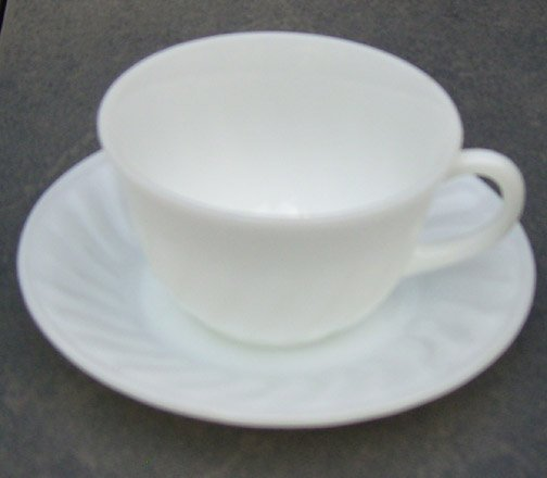 Vintage 1950s Fire King Swirl Anchor White Cup and Saucer Set of 3