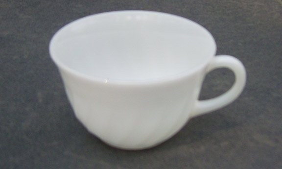 Vintage 1950s Fire King Swirl Anchor White Cup (no saucer) Set of 3