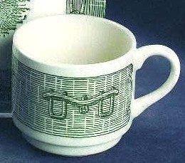 Vintage Royal China RYL112 Wide Base Cup (no Saucer) - Green Ox Yoke / Plow - Set of 2