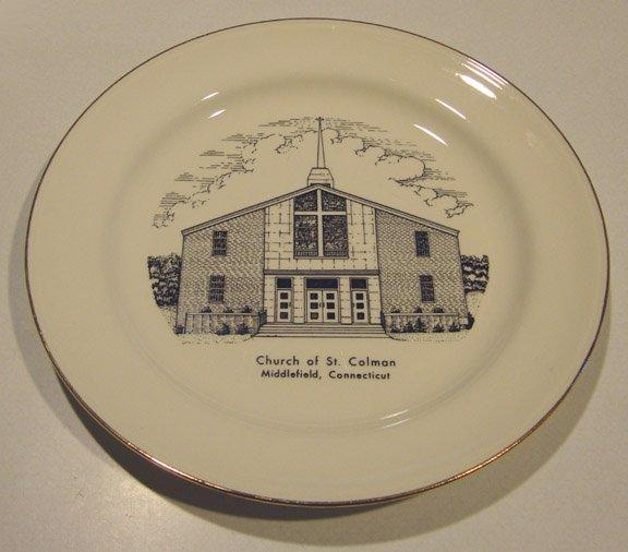 Vintage 1960s Church of St. Colman CT Commemorative Plate