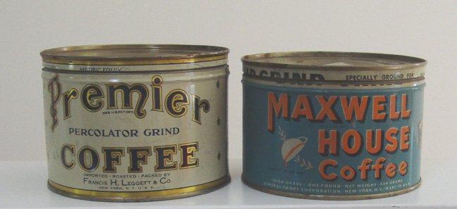 Vintage Coffee Tins - Premier Coffee & Maxwell House Keywind Coffee Tin
