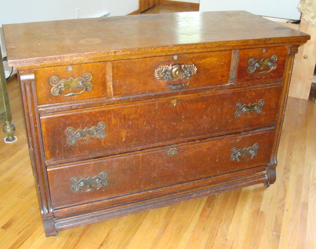 Antique Victorian Oak Dresser Chest