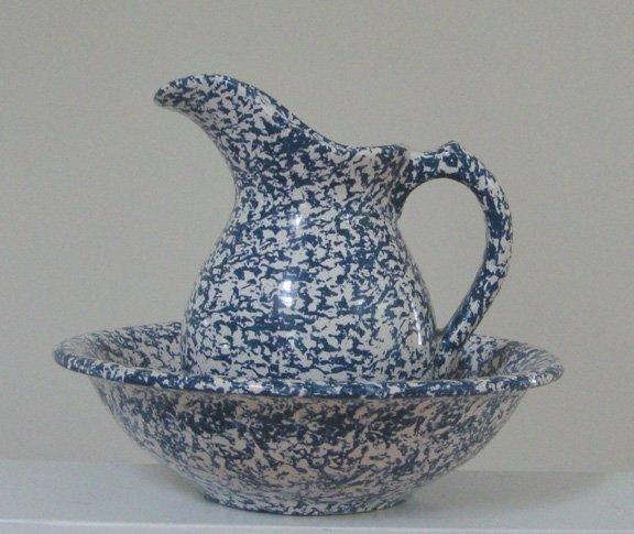 "Vintage McCoy Pottery Spongeware 9"" Pitcher & 12"" Basin Blue & white"