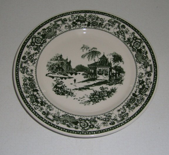 Vintage Buffalo China Green Transferware Fishing Scene Salad Bread Plate