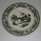 Vintage Buffalo China Green Transferware Fishing Scene Salad Bread Plate