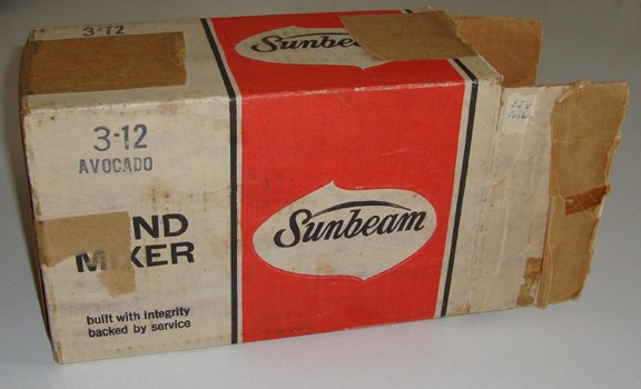 Retro Original Sunbeam Hand Mixer Avocado Green 3-12 in orig. box