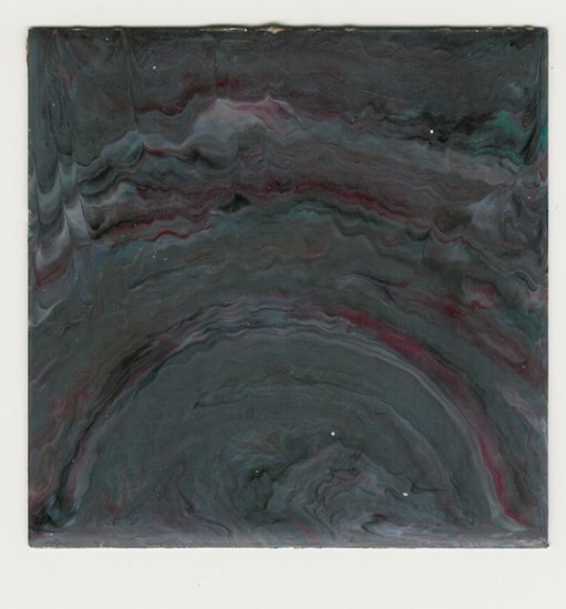 """Vintage 1950s Plastic Wall Tile (used) - Dark Grey/ Maroon Marble 4 1/4""""- Pack of 10"""