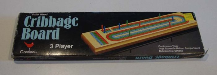 Vintage Cardinal Hardwood Cribbage Board #63 3 Player