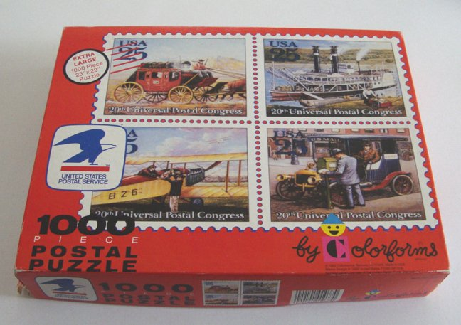 Vintage 1990 Colorforms USPS 20th Universal Postal Congress Stamps 1000 Piece Puzzle