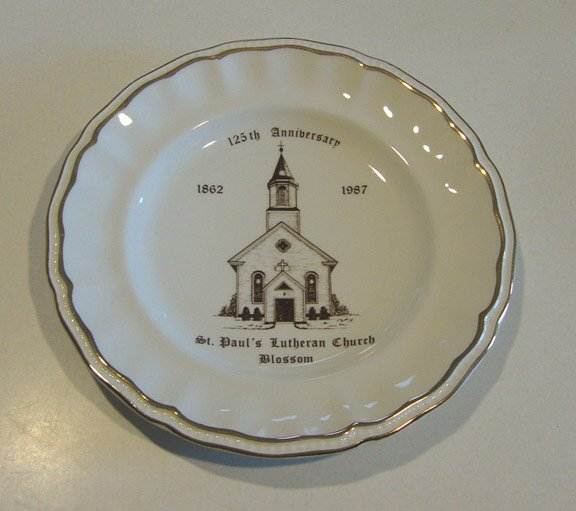 Vintage 1987 St. Paul's Lutheran Church Blossom, NY 125th Anniversary Plate